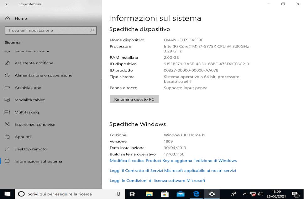 specifiche su Windows